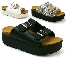 WOMENS FLAT CHUNKY WEDGE FOOTBED LADIES SLIP ON MULE INSOLE SANDALS SHOES SIZE