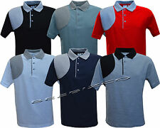Mens Short Sleeve Plain Quilted Polo Shirt T shirt Top Casual Cotton Mix S -XXL