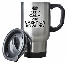KEEP CALM and Carry on Bowling Travel Mug - Coffee Cup Gift Idea Steel