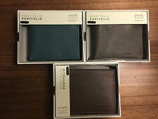 NEW Style Perry Ellis Portfolio Slim BiFold Men's  Genuine Leather Wallets