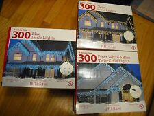 300PK  Icicle Christmas Lights Indoor / Outdoor White Wire 18 ft Assorted Colors