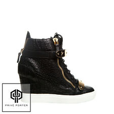 GIUSEPPE ZANOTTI BLACK LORENZ HIGH-TOP CROC EMBOSSED WEDGE SNEAKERS