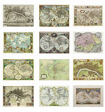 VINTAGE OLD MAPS Posters Old Style Home Art Print  Wall Decor Large Canvas Sizes