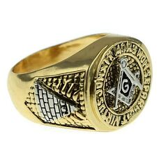 Masonic Ring Master Mason Gold Tone Square G & Pyramid Men Freemason Size 7-13