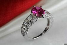 Antique Style Hot Pink Sapphire Oval Cut Engagement Ring Bridal Wedding Ring