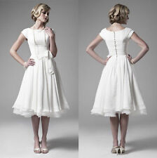 White/Ivory Vintage Tea Length Wedding Dresses with Sleeves Beach Bridal Gowns