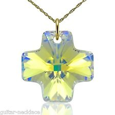 Genuine 9ct Gold Cross Pendant Charm Necklace Jewellery Set & Swarovski Elements