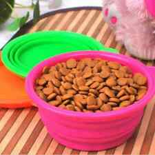 New Dog Cat Pet Portable Silicone Collapsible Travel Feeding Bowl Water Dish