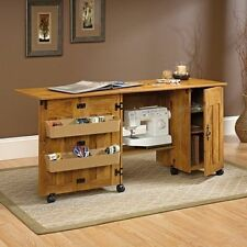 NEW Sauder Sewing Machine & Craft Table Drop Leaf Shelves Storage Bins Cabinets