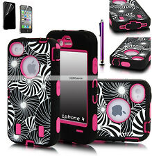 ** HOT NEW For iPhone 4 & 4S PINK HYBRID HIGH IMPACT HARD RUBBER CASE FREE GIFTS