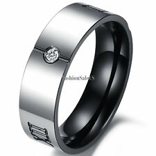 Stainless Steel Roman Numerals Engraved Promise Ring Engagement Wedding Bands