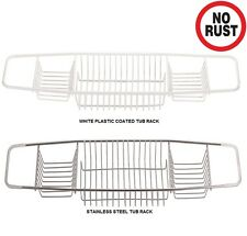 NON RUST S.STEEL / WHITE PLASTIC COATED OVER BATH SHOWER CADDY TUB TRAY RACK