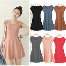 Women Korea Girl Solid Plain Cotton Casual Long Sleeve Blouse T-SHIRT Mini Dress