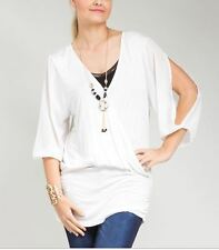Womens Top 1X 2X 3X SEXY Cold Shoulder Necklace Tunic Ivory Shirt FREE SHIP New