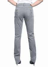 Womens Straight Leg Jeans Slim Fit Pants Denim Trousers Grey Classic Waist 25-30