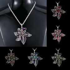 Fashion Crystal Women Jewelry Flower Pendant Necklace Chain Silver Tone Charm