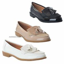 LADIES WOMENS CLASSIC TASSEL LOAFERS FLAT SUMMER OFFICE SHOES PUMPS BROGUES SIZE