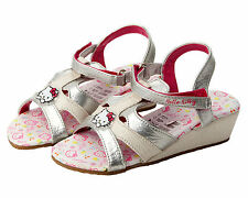 GIRLS OFFICIAL HELLO KITTY SILVER WHITE SUMMER BEACH WEDGE SANDALS UK SIZE 8-2