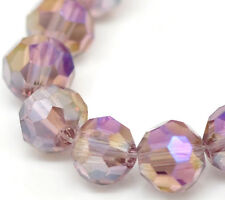 Wholesale Lots Purple AB Color Faceted Ball Glass Crystal Loose Beads 4mm Dia
