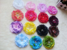 Wholesale Lady Girls Baby Peony Flower Hcrochet GIRL Baby Crystal Hair Clip Bow