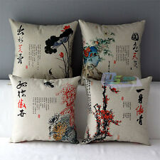 New Oriental Chinese Orchid Flower Print Cotton Linen Pillow Case Cushion Cover