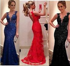 Women' Long Evening Ball Prom Gown Formal Bridesmaid Cocktail Party Lace Dress