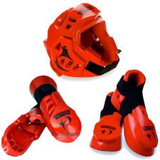 New Taekwondo,Karate MMA Headgear,Hand,Foot Macho Warrior Sparring Gear set-RED