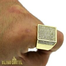 14K Gold Finish Micro Pave CZ Bling Crystal Iced-Out Men's Hip Hop SZ 8-12 Ring
