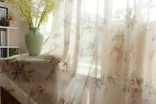 Custom Made French Country Cottage Rose Floral Sheer Voile Curtain