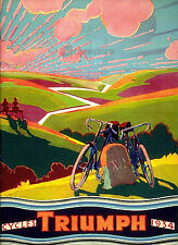 VINTAGE TRIUMPH Cycles poster 1930's printed on Cotton Canvas in Large Sizes
