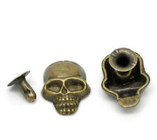Wholesale Lots Sets Bronze Tone Skull Spike Rivet Studs Spots 16x12mm 7mm