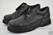 KINGSHOW Men's Black Work & Safety Leather Boots Shoes Oxfords Wide(E, W) 7006-2