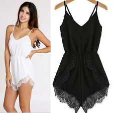 Women Strap Sleeveless Lace Chiffon Party Jumpsuit Rompers Playsuit Excellent