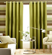 """Pair Of Lime Green Eyelet Ring Top BLACKOUT Curtains  55"""" wide x 72"""" & 90 Drop"""