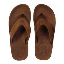 ANIMAL MENS BOYS JEKYL PREMIUM DARK BROWN LEATHER FLIP FLOPS BEACH SANDALS SHOES