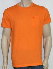 Abercrombie & Fitch Pocket Crew Tee Mens Solid Orange Muscle Fit Shirt New NWT