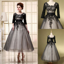Black Tea Length Mother of the Bride Dresses Plus Size Cocktail Party Prom Gown