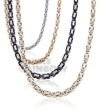 """20-36""""men stainless steel gold Silver Black 6-8 mm byzantine box necklace chain"""