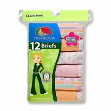 NEW 12 PACK GIRLS FRUIT OF THE LOOM COTTON BRIEFS PANTIES- 6 Sizes available NEW