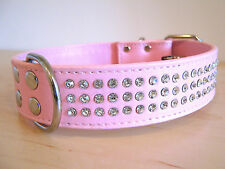 Pink Bling, Rhinestone Leather Dog Collar For Large Dogs