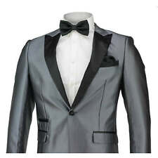 Mens Grey Silver  Slim Fit Suit Black Shawl Lapel Wedding Prom Party Blazer