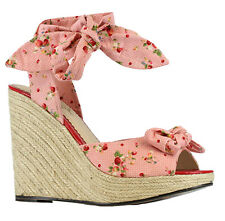 "Women's Bettie Page Melissa 4"" Wedge W/Strawberry Polka Dot Fabric and Tie Pink"