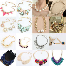 Vintage Women Gold Chain Crystal Chunky Statement Bib Pendant Choker Necklace