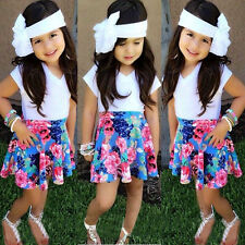 2015 Baby Kids Girls Solid White T-shirt + Flower A-line Skirt 2pcs Clothes Sets