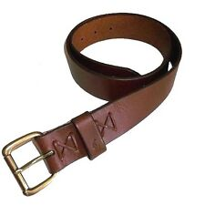 POLO RALPH LAUREN BROWN WESTERN TUMBLED PONY EMBOSSED BRASS LEATHER BELT $75+