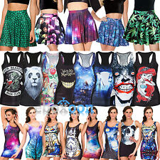 Women's Graphic Punk Tank Vest Sleeveless Shirt Tops Bodycon Dress Short Skirt