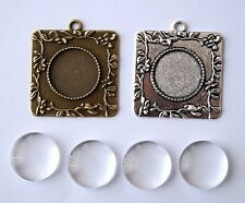 Bronze Silver Cabochon Cameo Settings Charm Clear Glass Dome 40x36mm Fit 20mm