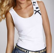 "White Black  T-shirt Top Camisole Cami Vest  ""Gladys"" Scoop Necline Sleeveless"