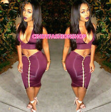 New Sexy Women Two Piece  Set Outfits V-Neck Bandage Casual Club Party Dress