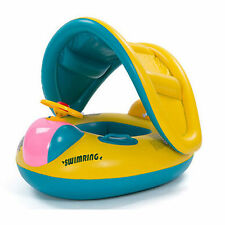 Kids Baby Swim Ring Float Seat Inflatable Toddler Swimming Pool Boat with Canopy